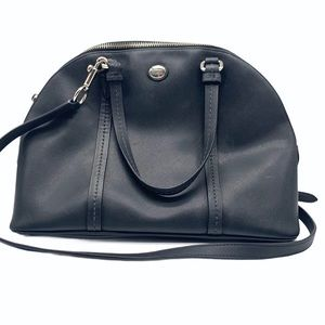 Coach Peyton Black Leather Domed Satchel
